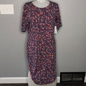 LulaRoe Julia Dress XL Mini Flower Design